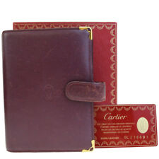 Auth Must De CARTIER 2C Logos Agenda Day Planner Cover Leather Bordeaux 08EF117