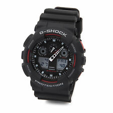 Casio G Shock Black Red Resin Strap Mens Sport Watch GA100-1A4