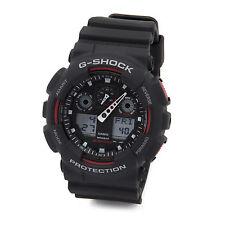 Casio G Shock Black Red Resin Strap Mens Sport Watch GA100-1A4
