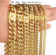 Luxury Mens Necklace Fashion Cuban Miami Link Chain Charm Gold Plated Jewelry