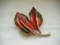 Vintage Autumn colours enamel large leaf brooch pin  'Hedy'