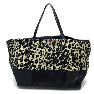 CELINE Horizontal Cabas Leopard Tote Bag Canvas x Leather Black/yellow