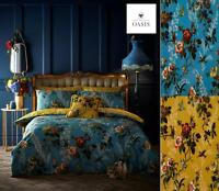 OASIS LEIGHTON Floral Duvet Cover & Pillowcase Bedding Set - Blue Or Ochre