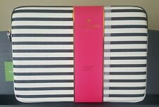 "KATE SPADE Glitter Stripe Black White LAPTOP SLEEVE Case 13"" macBook Hawthorne"