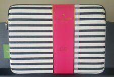 "KATE SPADE Glitter Stripe Black White LAPTOP SLEEVE Case 13"" macBook Hawthorne"