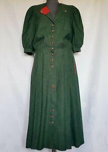 VINTAGE SALZBURG OKTOBERFEST DIRNDL GREEN LINEN BLEND WOMEN'S DRESS:US 14/EU 42