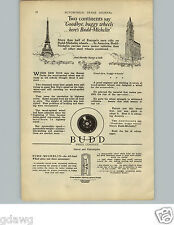 1925 PAPER AD Budd Michelin Steel Wheel Co Car Auto Bonney Wrench Water Pump