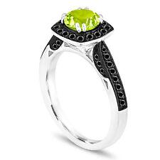 1.31 Carat Peridot Engagement Ring 14K White Gold Halo Pave Handmade