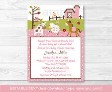 Pink Farm Pony Cow Sheep Owl Printable Baby Shower Invitation Editable PDF
