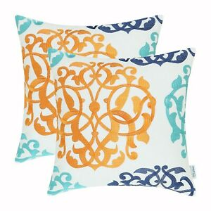 """2Pcs Turquoise Orange Navy Floral Embroidered Cushion Covers Pillow Shell 16x16"""""""