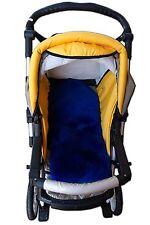 Véritable cuir d'agneau polaire bébé en peau de mouton poussette liner/couverture de siège bleu naturel