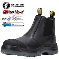 ROCKROOSTER Men's Work Boots Safety Booties Pull On Water Resistant Comfortable