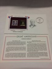 Horace Greenley Stamp, February 3, 1961 MINT and 22kt gold Great Americans