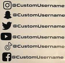 Custom @ Instagram Snapchat Twitter Youtube TikTok Facebook Vinyl Decal Sticker