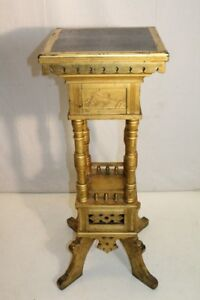 Gold Leaf Antique 19th Century Arts & Crafts Pedestal/Plant Stand
