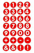 """13mm (0.5"""") Round Circular White on Red Numbering Labels Number Stickers RCN7967"""