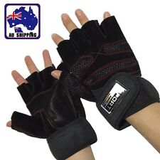 Weightlifting Gloves Gym Barbell Fitness Fingerless Wrist Wrap Workout OGLOV9045