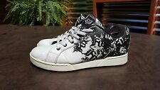 MENS FOX WHITE LEATHER CASUAL SNEAKERS SHOES SZ 11 MED EUR 45 FAIR POOR TRASHED