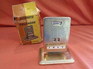 Rare Vintage Automatic Push Perpetual Desk Calendar Boxed