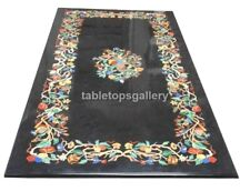 4'x2' Multi Stone Floral Inlaid Black Marble Top Dining Table Hallway Decor B583