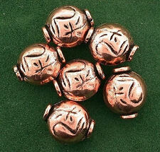 Six Copper 11x10 Flat Puff Round Casted Designer Bead