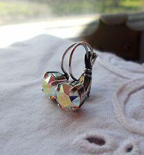 8mm CupChain AURORA BOREALIS/ANTIQUE SILVER EARRINGS w/Swarovski Crystals~WOW!