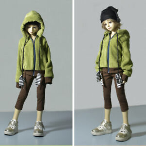 1/6 1/4 1/3 BJD Clothes Doll Outfit Green Corduroy Hoodies+Brown Cropped Pants