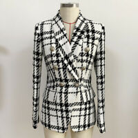 New Fall Women's Designer Inspired Tweed Lion Buttons Fitted Check Blazer Coats