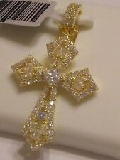 Gold plated .925 STERLING SILVER Micropave Iced CROSS pendant new item