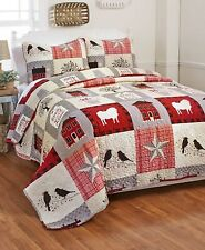 Homestead Full Queen Quilt & Pillow Sham Set Country Primitive Sheep Birds Star