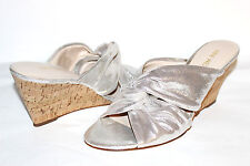 """✿ NINE WEST Kessie Knotted Silver Leather 3"""" Cork Wedge Slides 9.5 M NEW! L@@K!"""