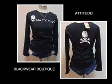 Girls Black Shirt DONT CALL Skull Graphic NWT SZ XL
