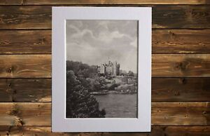 Castlewellan Castle, 1904 steel engraved print. Co Down Northern Ireland. Matted