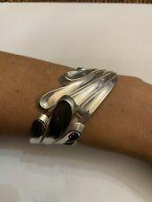 Sterling Silver Hinged Cuff Bracelet Beautiful Vintage Margot De Taxco #5650