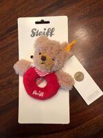 Vintage Steiff Grip Toy Rattle, bear, plush, washable, eyes.