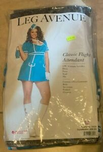 Leg Avenue Classic Flight Attendant Dress Costume NEW Plus Size 1x 2x Halloween