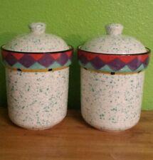 Vtg Set 2 Paradise Treasure Craft Usa Glazed Ceramic Lidded Canisters Southwest