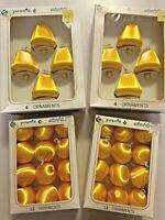 Vintage Pyramid Rauch Satin Gold Bells Balls  Christmas Ornaments MCM 4 boxes
