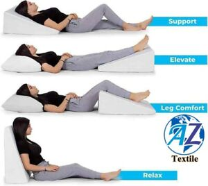 New Memory Foam Large Acid Reflux Foam Back Support Bed Wedge Pillow UK Seller