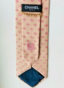 Rare Chanel Mens 100% Silk Pink Tie Made In Italy