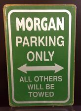 Morgan Parking Only Metal Sign / Vintage Garage Wall Decor 16x11 Cm