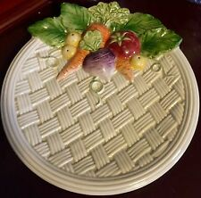 "9"" Large Canapé Plate Vegetable Garden Basket Pattern by Fitz & Floyd NWT RARE"