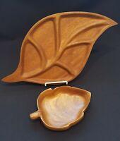 Vintage Genuine Monkey Pod Wood Bowl and Divided Leaf Dish Tiki Bar MCM