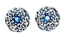 925 Sterling Silver Round Celtic Knot Stud Earring with September Birthstone