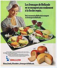 PUBLICITE ADVERTISING 104 1975 HOLLAND fromages Edam,Gouda,Mimolette