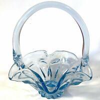 "FENTON GLASS BLUE RUFFLED BASKET 6 3/4""  HANDLED VINTAGE"