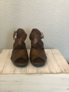 Brighton Womens 8.5 M Brown Leather High Heel Pumps Shoes Buckle Open Toe Italy