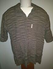 Columbia Short Sleeve Button Front 100% Cotton Dress Shirt Plaid Mens Large L