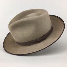 Stetson Brewster Buck Long Hair Fur Felt Bound Brim Fedora Hat size 7 1/8