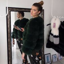 Dark Green Chic Genuine Fox Fur Coat Jacket Fluffy Tsaritsa Furs Size 10 12 14